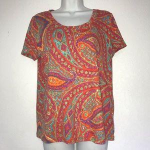 Lauren Ralph Lauren Cotton Short Sleeve Knit Top